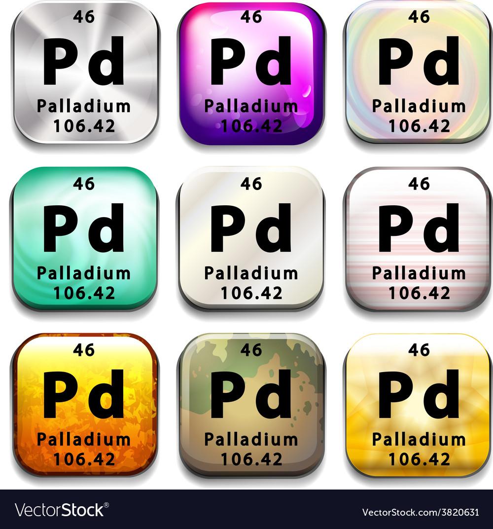 The chemical element palladium vector   Price: 1 Credit (USD $1)