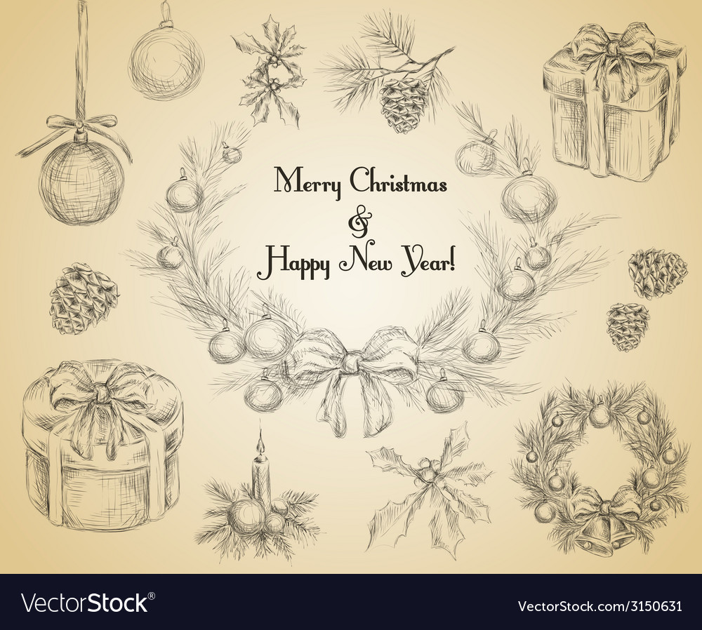 Christmas decoration sketch vector | Price: 1 Credit (USD $1)
