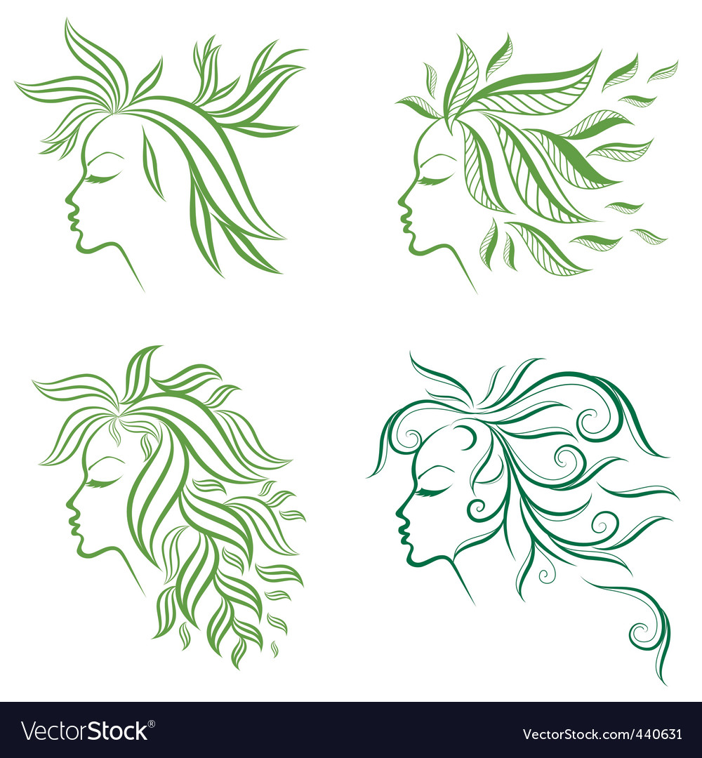 Floral hair vector | Price: 1 Credit (USD $1)