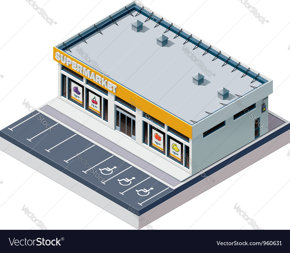 Isometric supermarket building vector | Price: 3 Credit (USD $3)