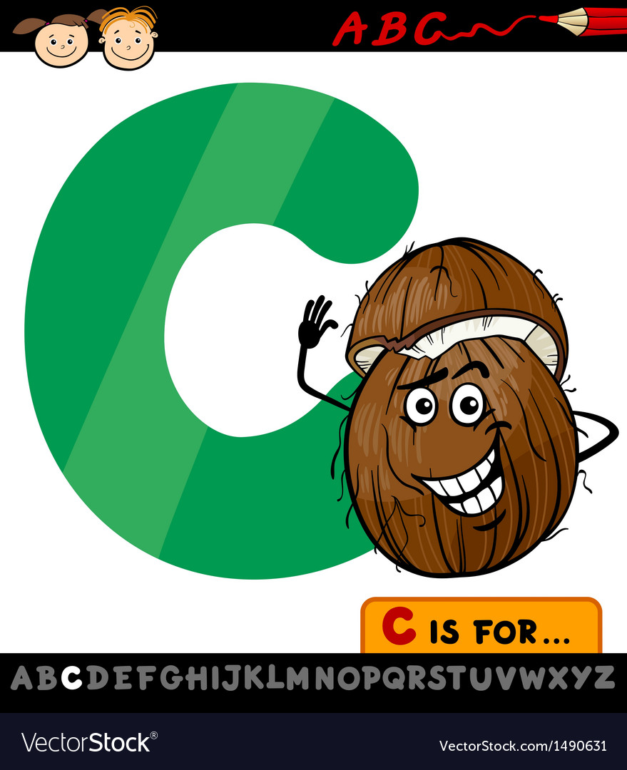 Letter c with coconut cartoon vector | Price: 1 Credit (USD $1)