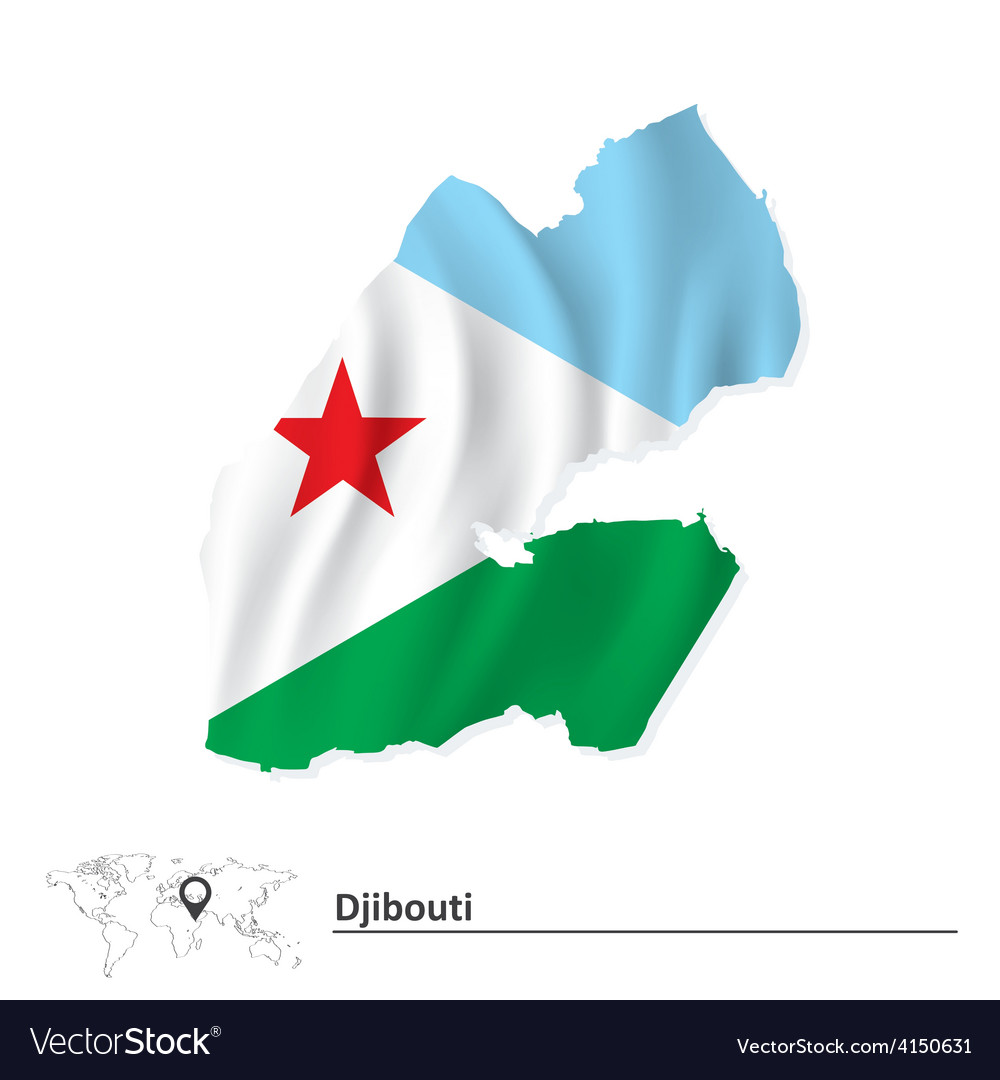 Map of djibouti with flag vector   Price: 1 Credit (USD $1)