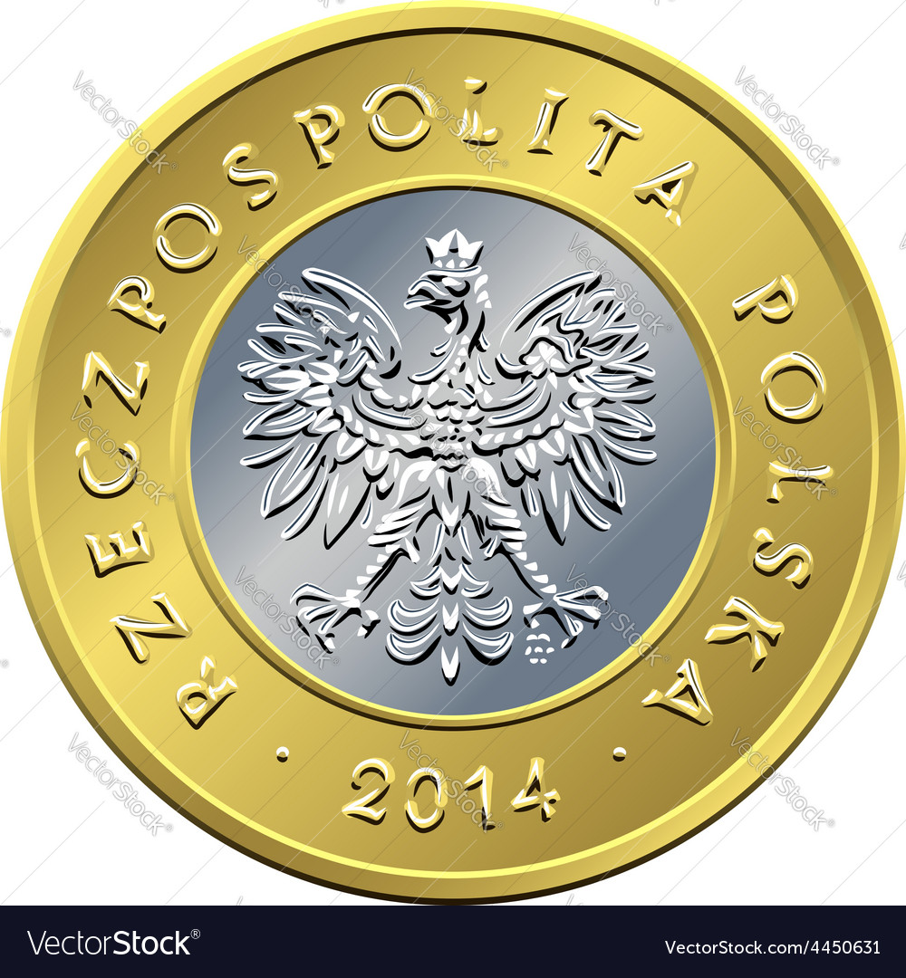 Obverse polish money two zloty coin vector | Price: 1 Credit (USD $1)