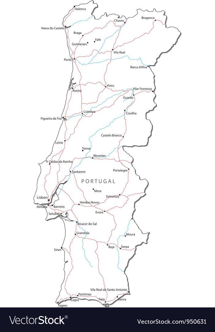 Portugal black white map vector | Price: 1 Credit (USD $1)
