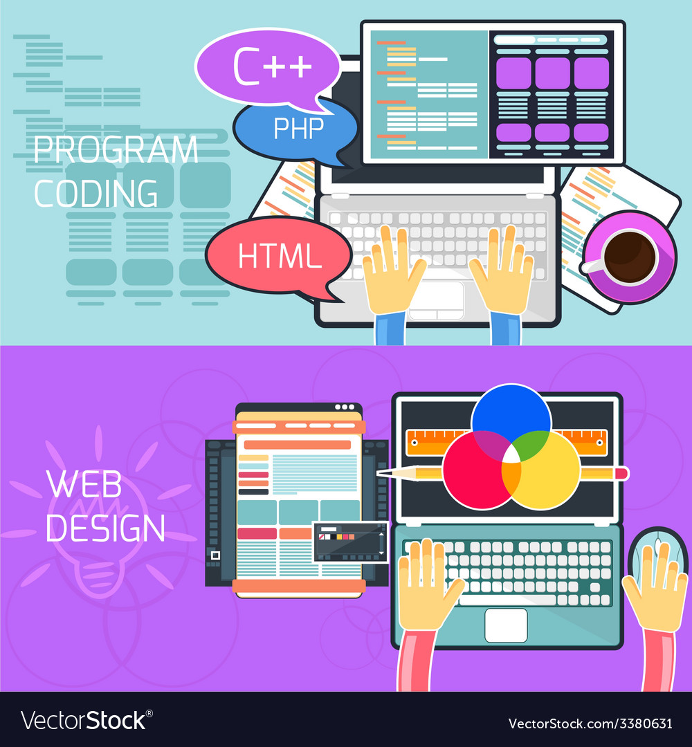 Program coding and web design vector | Price: 1 Credit (USD $1)
