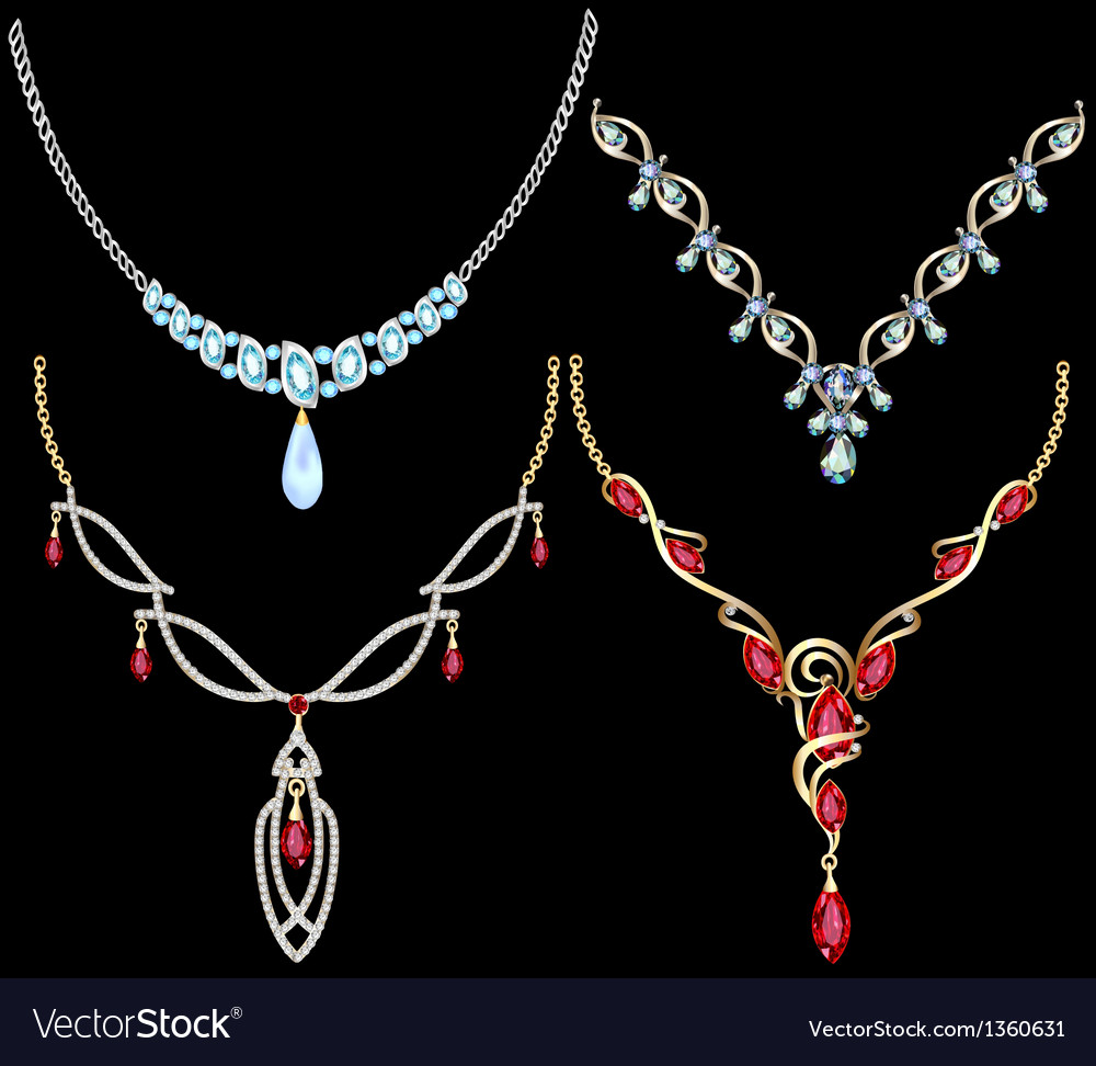 Set of necklace women with precious stones vector | Price: 1 Credit (USD $1)