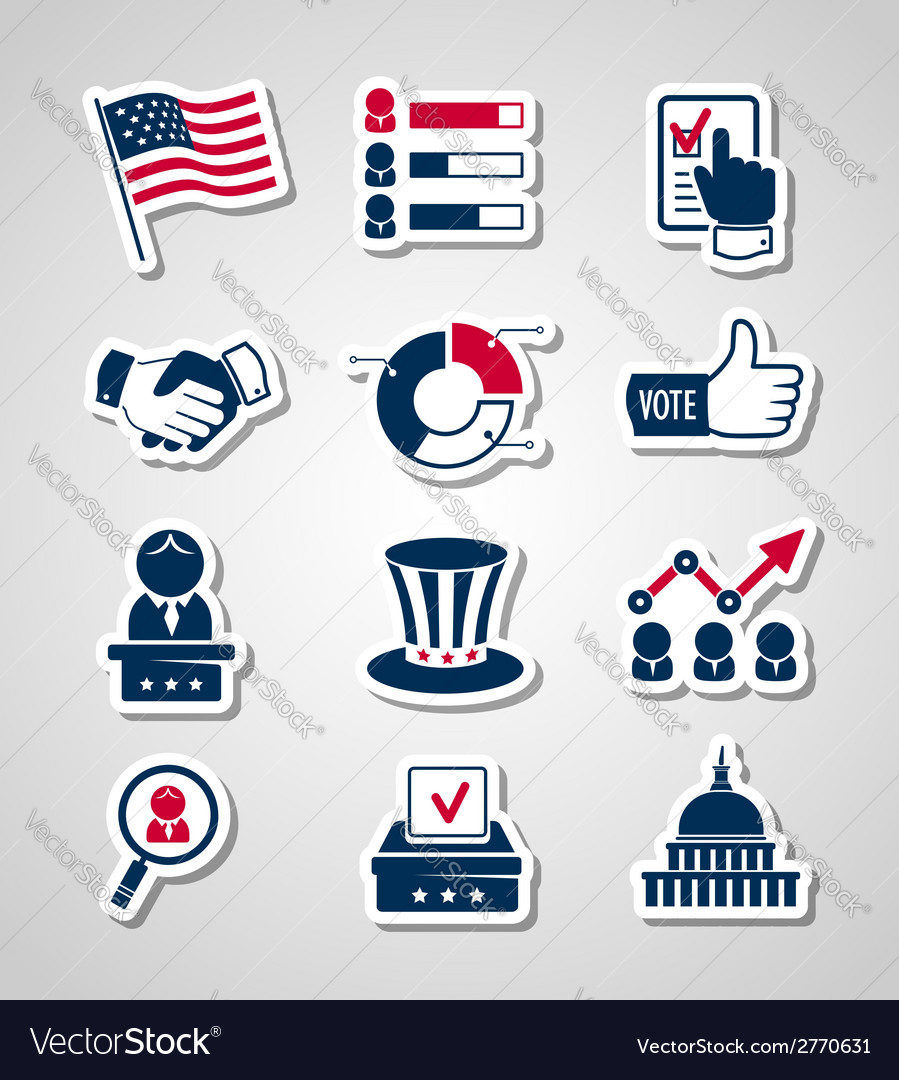 Voting and elections paper cut icons vector | Price: 1 Credit (USD $1)