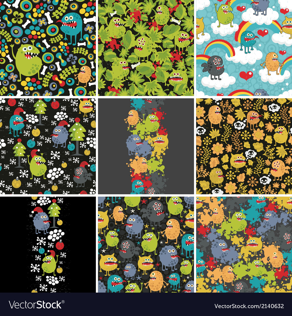 Big set of patterns with monsters vector | Price: 1 Credit (USD $1)