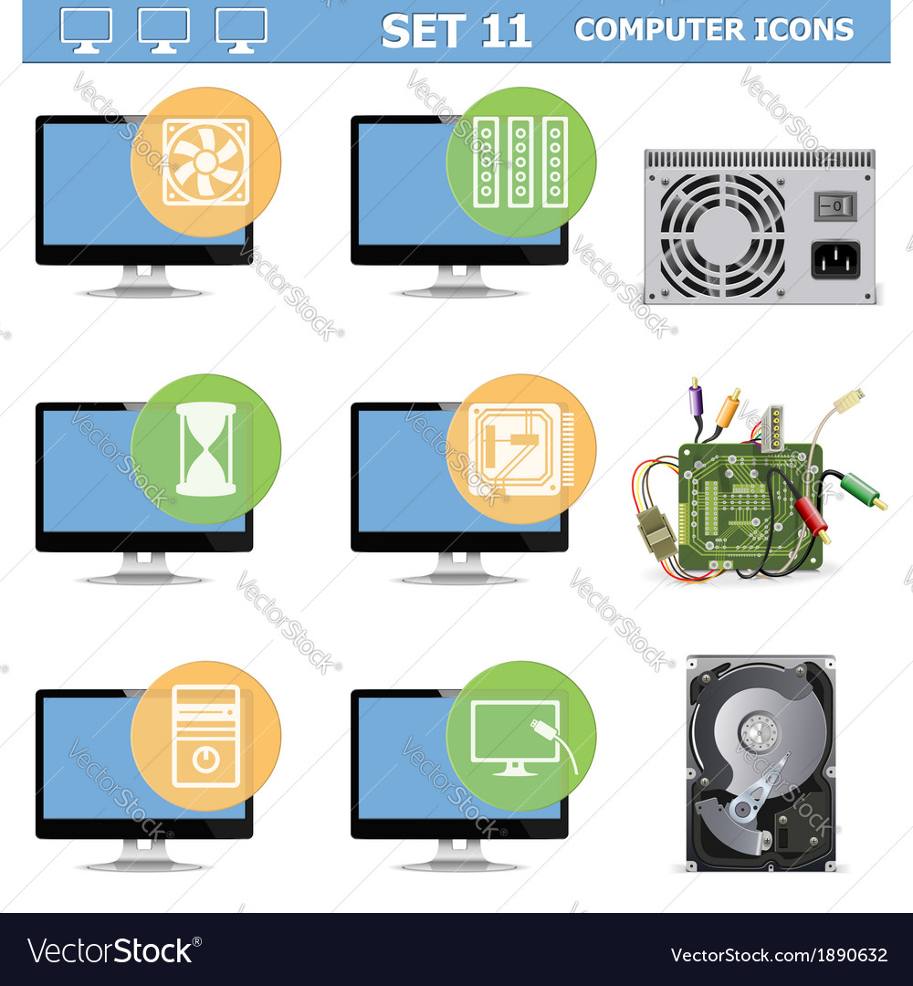 Computer icons set 11 vector | Price: 1 Credit (USD $1)
