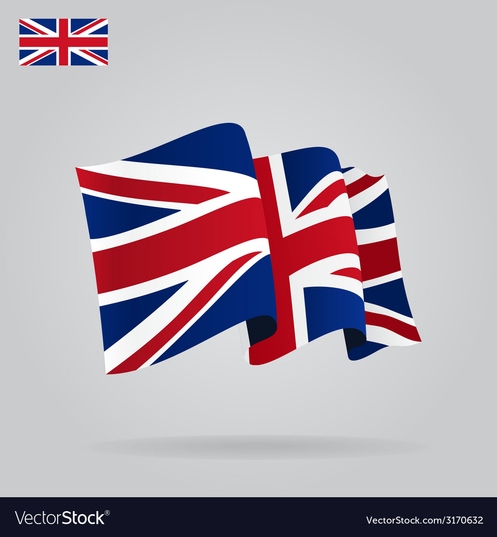 Flat and waving british flag vector | Price: 1 Credit (USD $1)
