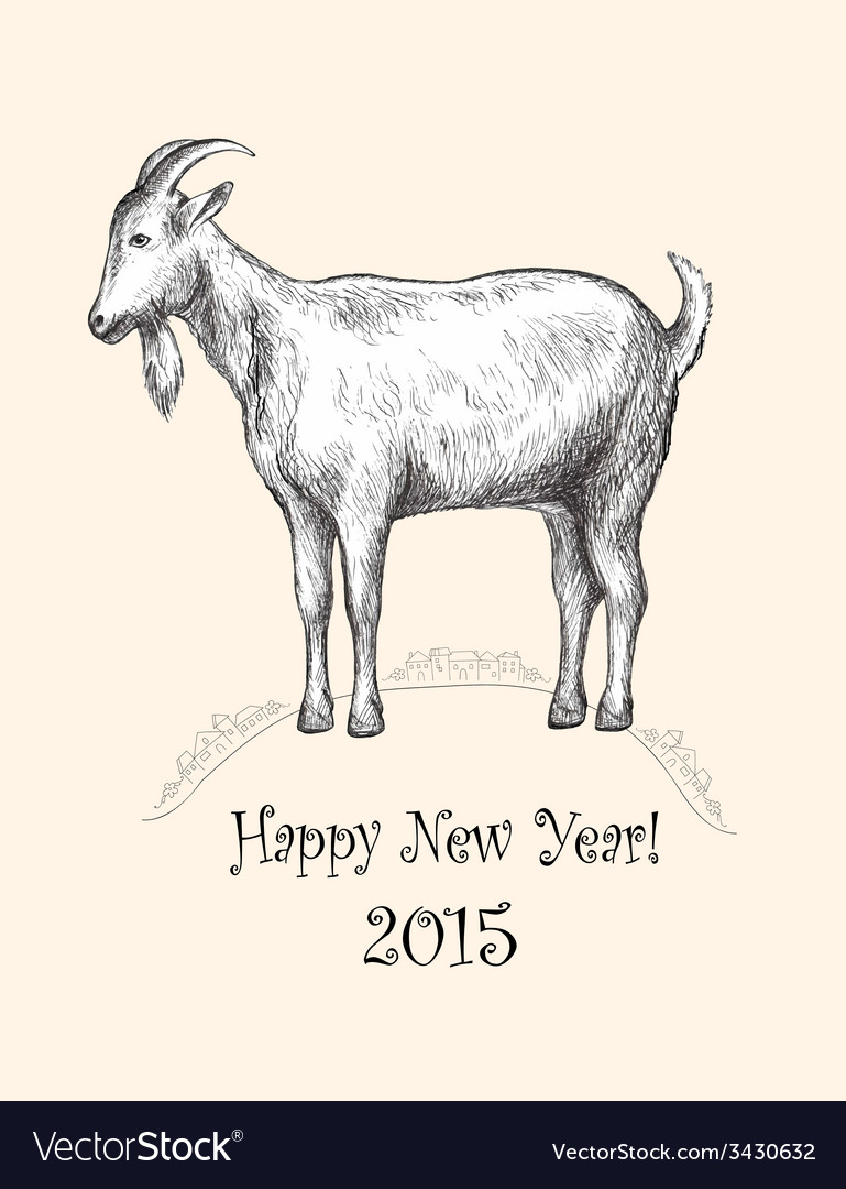 Goat hand-drawing new year 2015 vector | Price: 1 Credit (USD $1)