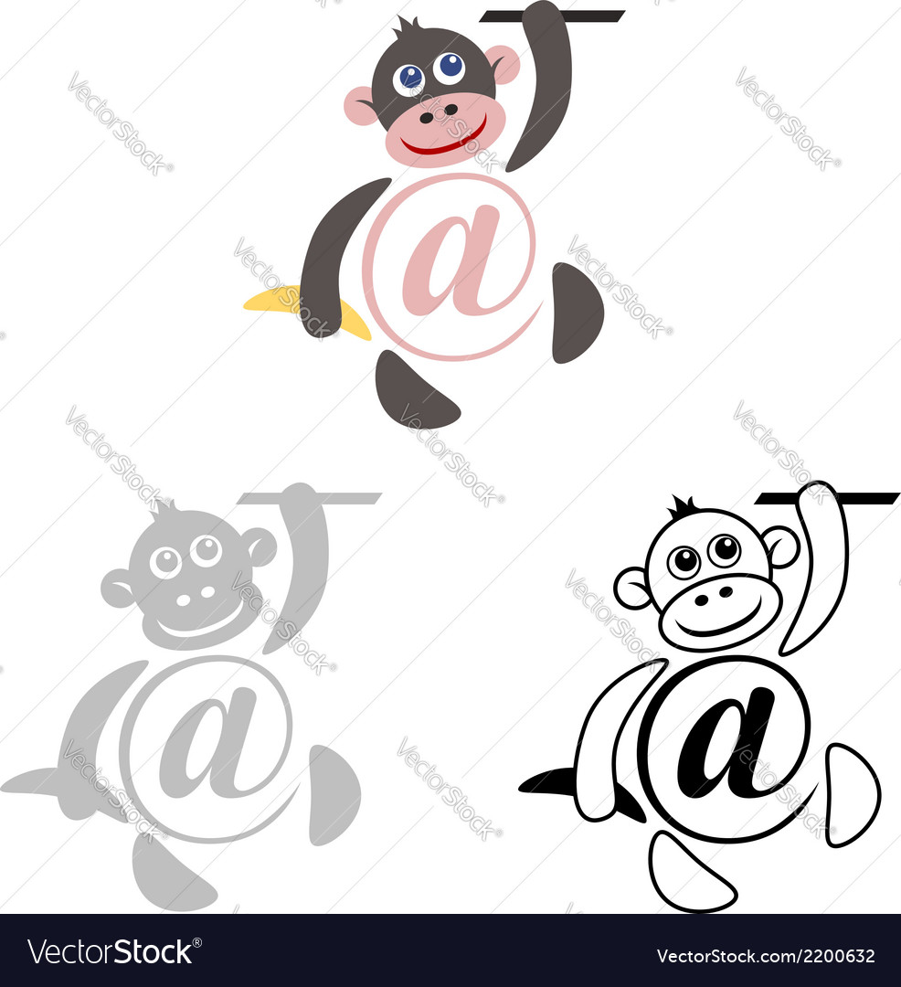 International sign email animals monkey vector | Price: 1 Credit (USD $1)