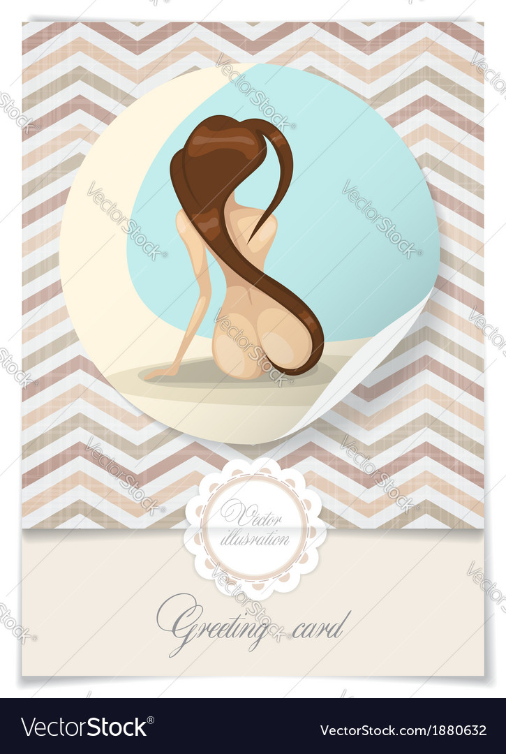 Nude girl with long hair vector | Price: 1 Credit (USD $1)