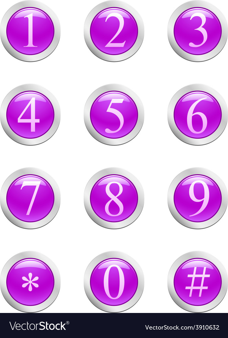 Numbers - violet button vector | Price: 1 Credit (USD $1)