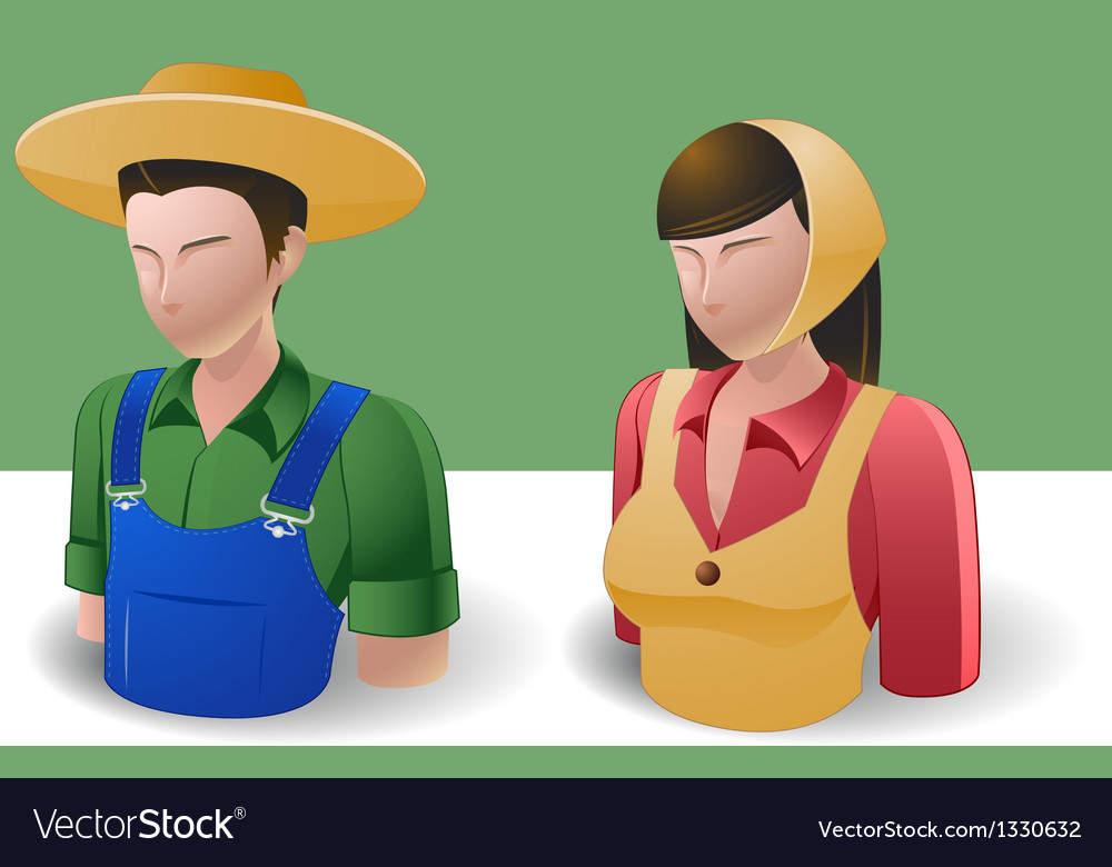 People icons farmer man and women vector | Price: 3 Credit (USD $3)