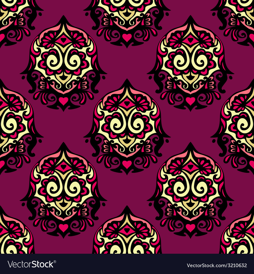 Purple damask flower seamless vintage vector | Price: 1 Credit (USD $1)
