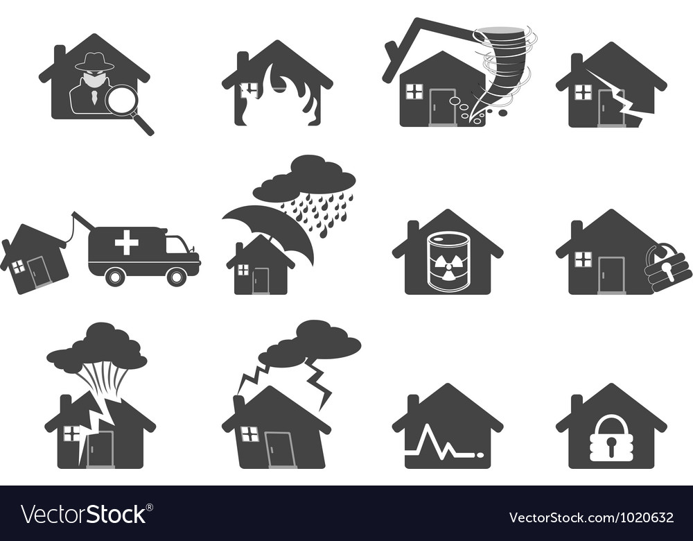 Set of house disaster icon vector | Price: 1 Credit (USD $1)