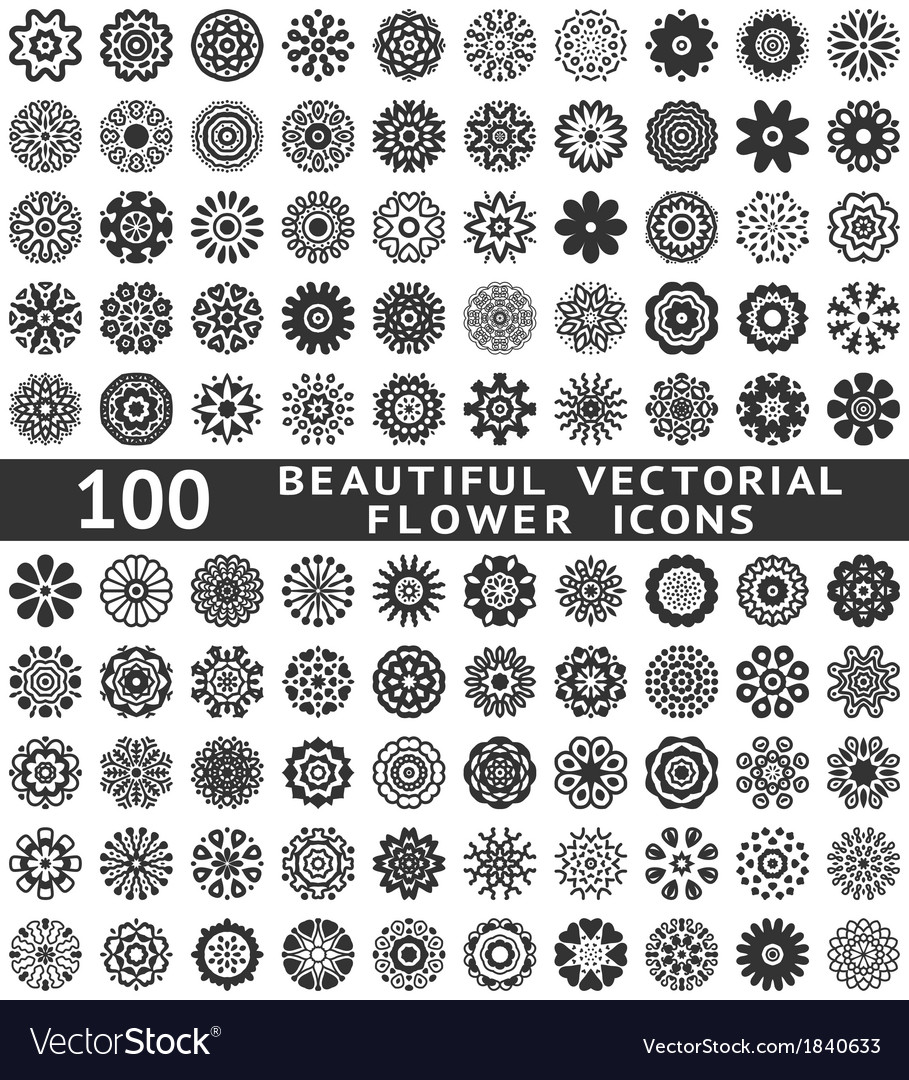 Beautiful abstract flower icons vector | Price: 1 Credit (USD $1)