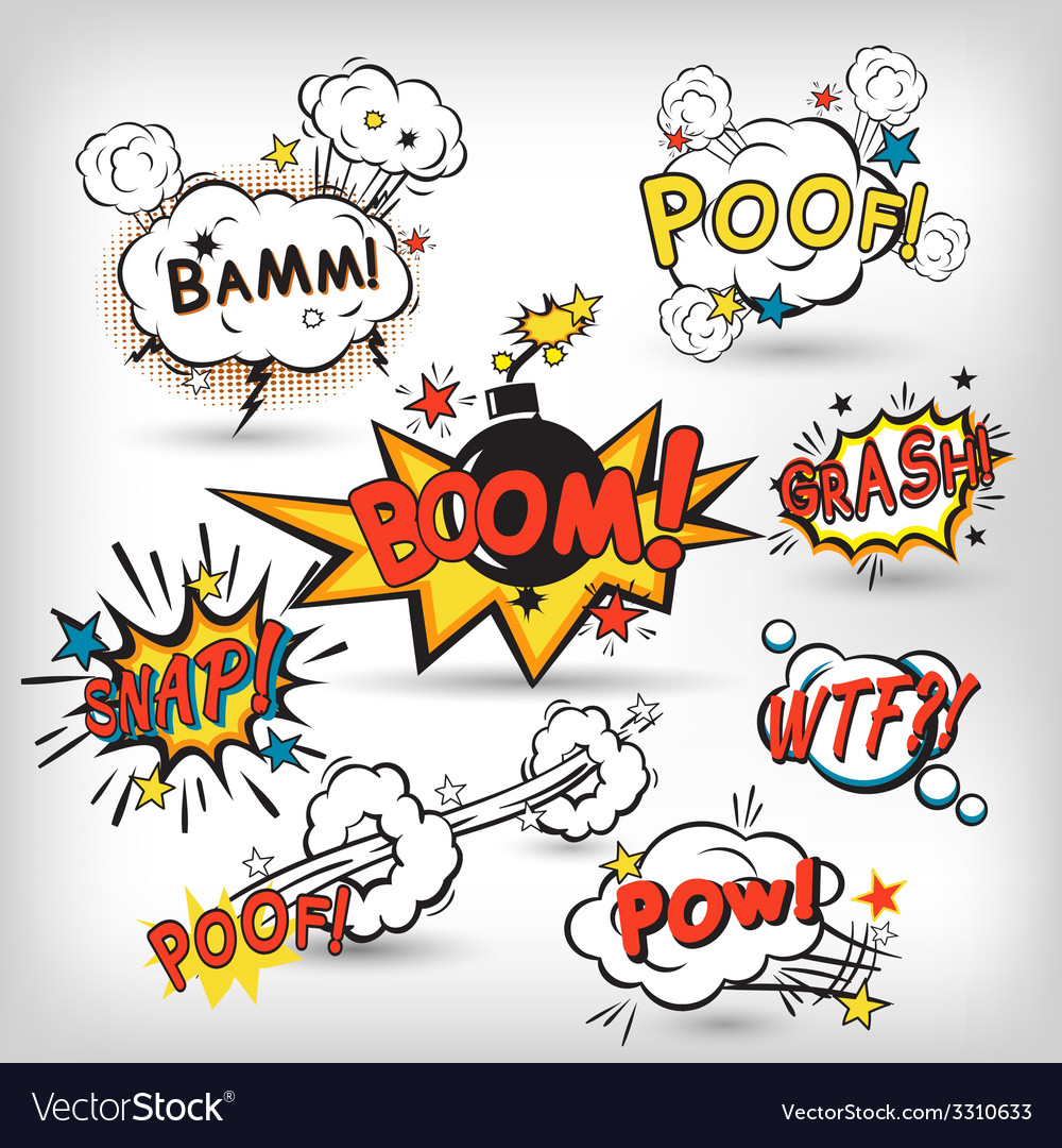 Comic boom set vector | Price: 1 Credit (USD $1)