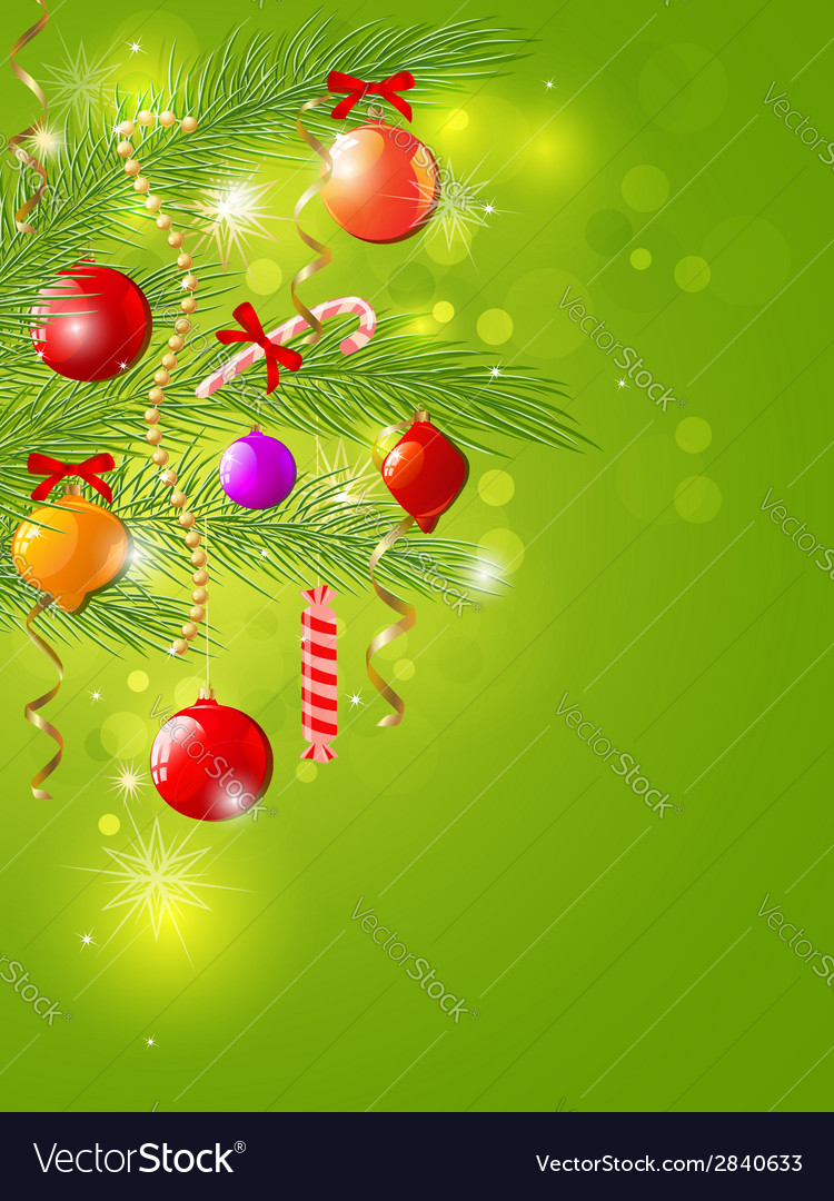 Green christmas background with decorations vector | Price: 1 Credit (USD $1)