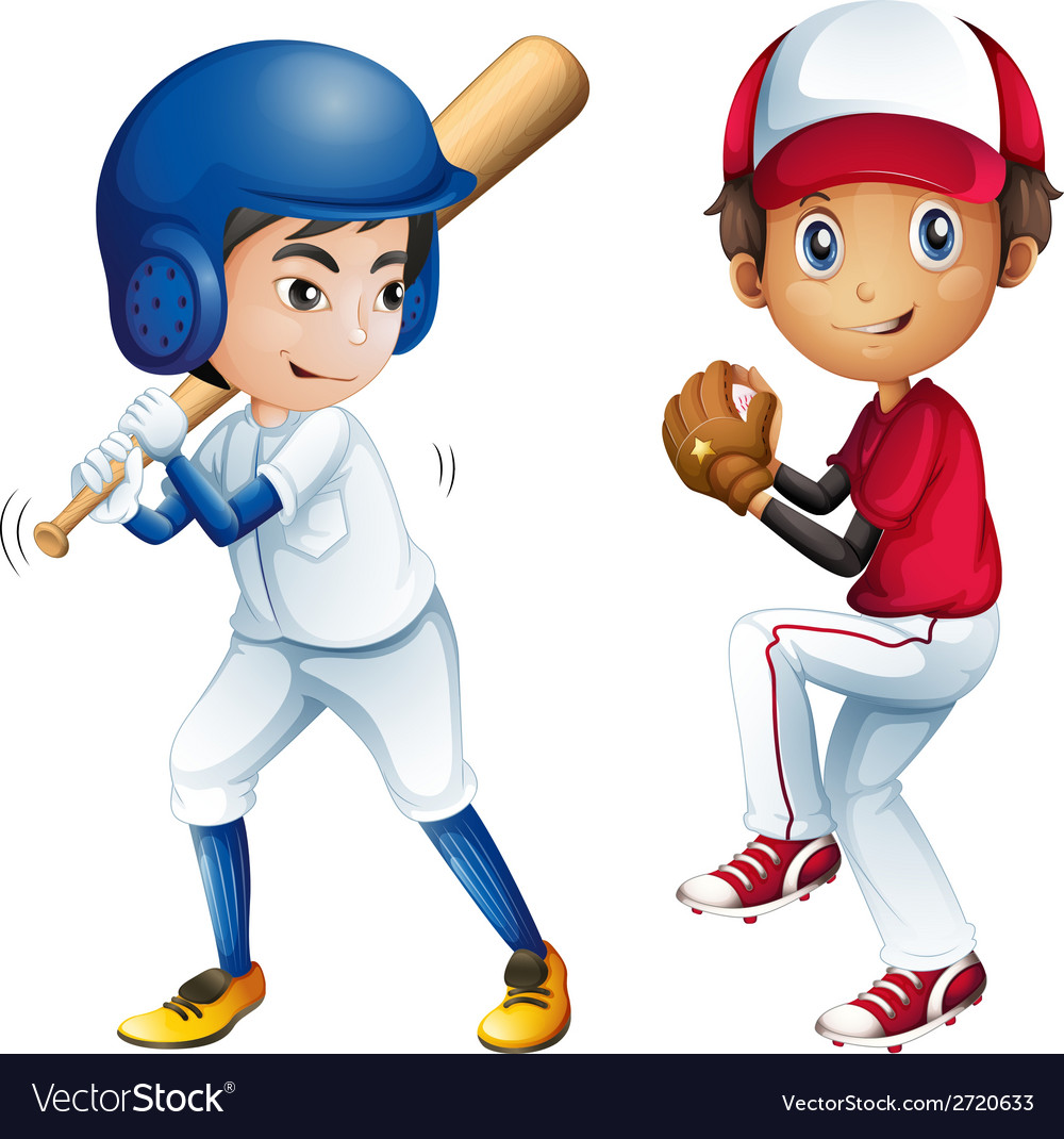 Kids playing baseball vector | Price: 1 Credit (USD $1)