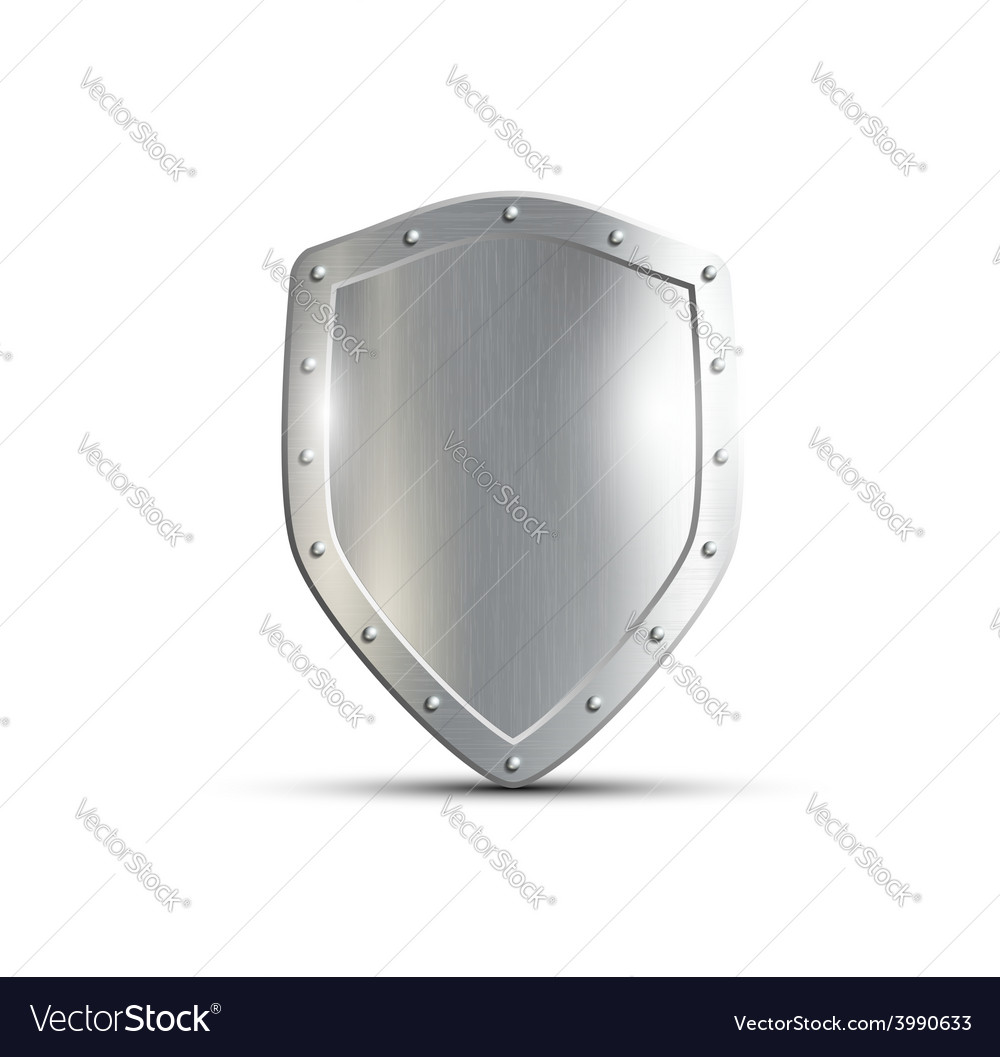 Metal shield isolated on white background vector | Price: 1 Credit (USD $1)