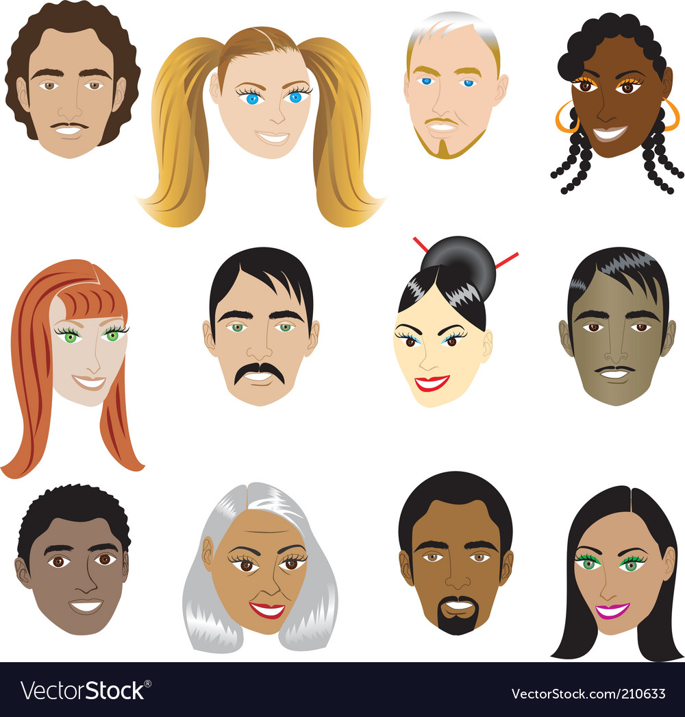 People faces vector | Price: 1 Credit (USD $1)
