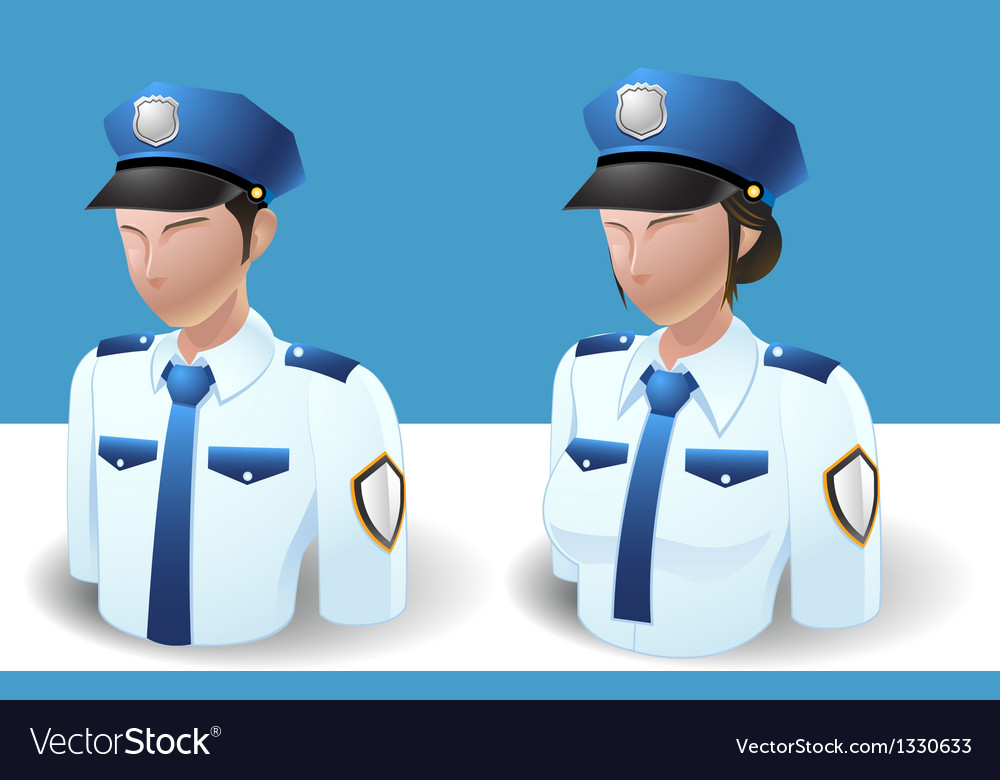 People icons policeman man and women vector | Price: 3 Credit (USD $3)