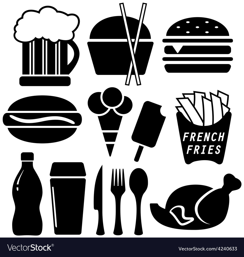 Set black fast food objects vector