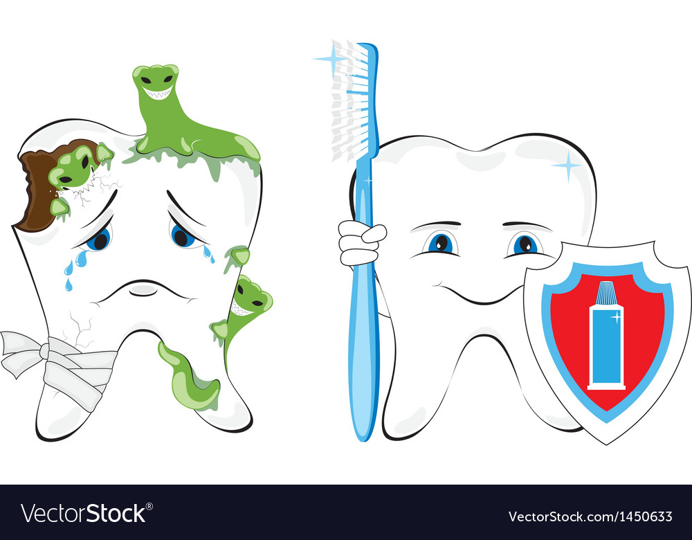 Sick and healthy tooth vector | Price: 1 Credit (USD $1)