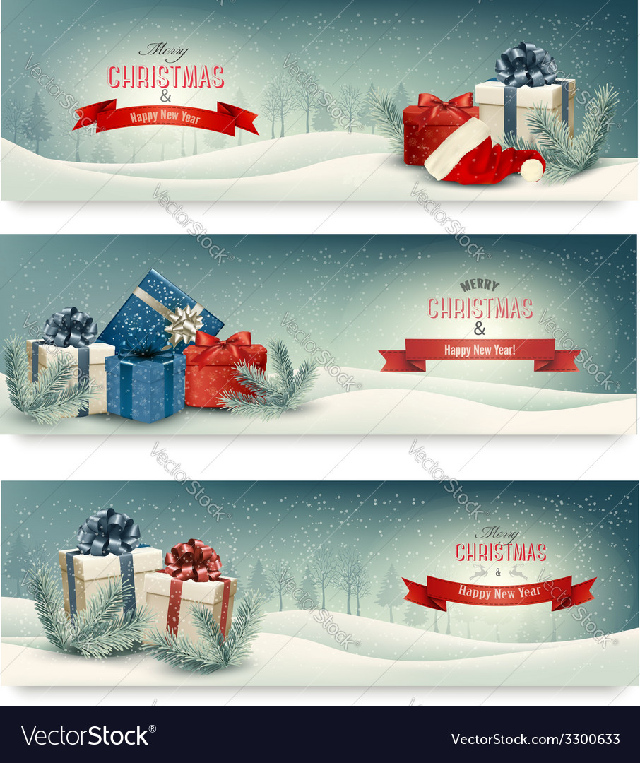 Three christmas banners with presents vector | Price: 5 Credit (USD $5)