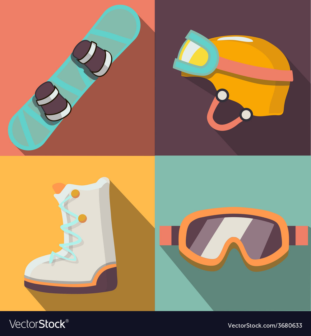 Winter sport flat icons collection vector | Price: 1 Credit (USD $1)