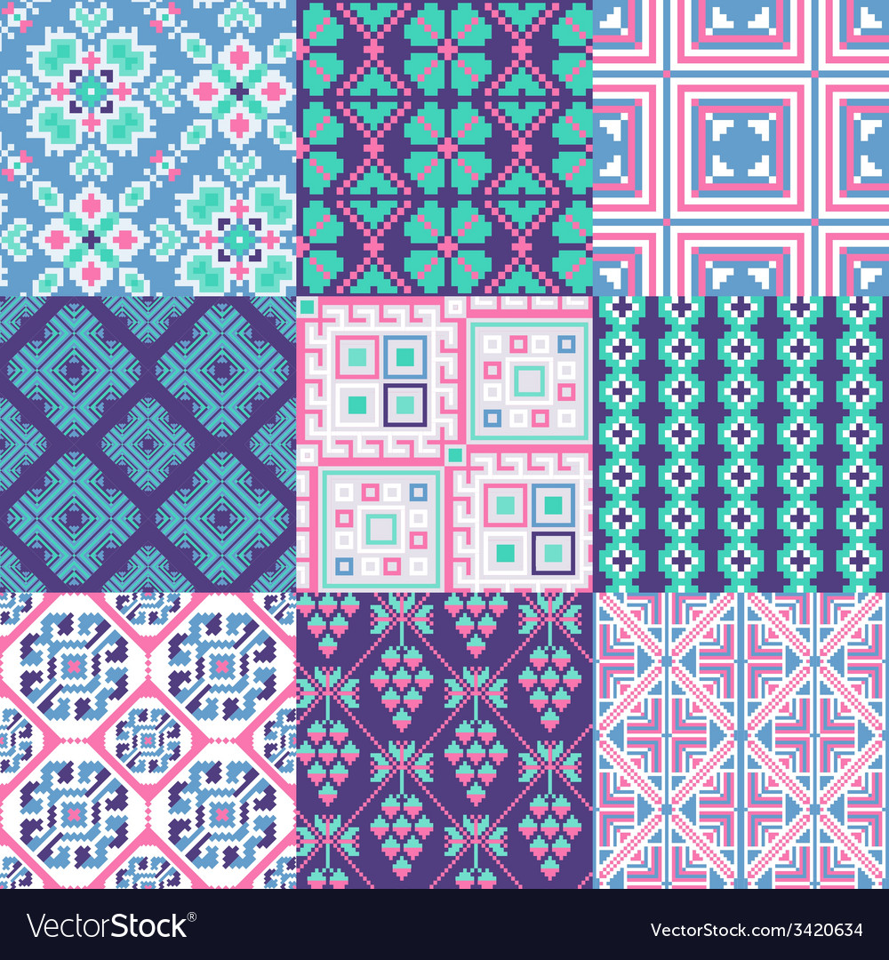 9 retro seamless ornaments vector | Price: 1 Credit (USD $1)
