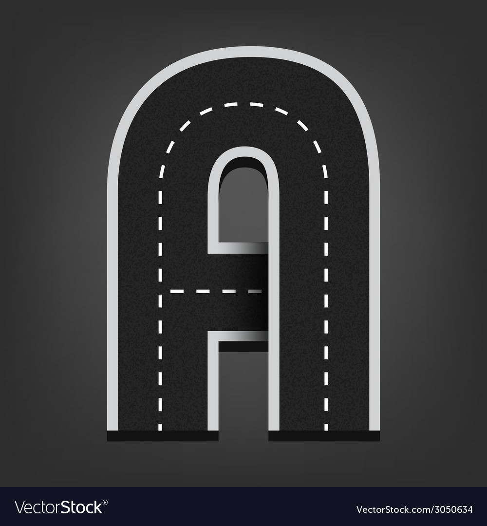 A letter road font vector | Price: 1 Credit (USD $1)