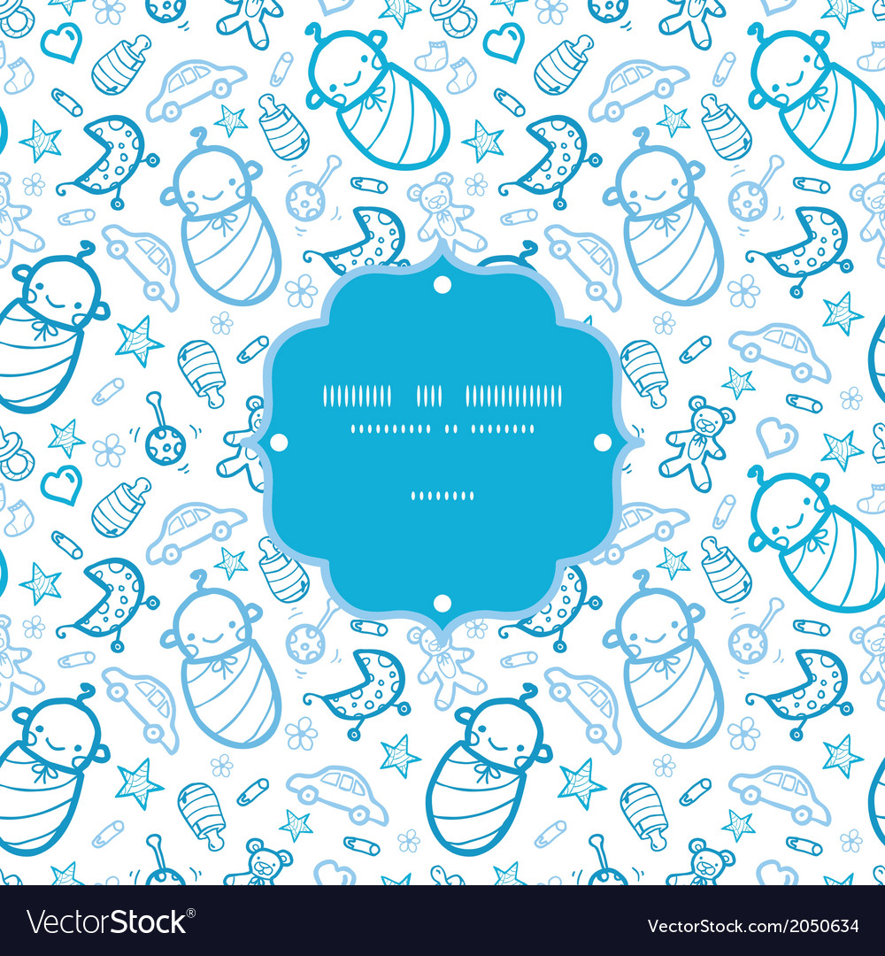 Baby boys frame seamless pattern background vector   Price: 1 Credit (USD $1)