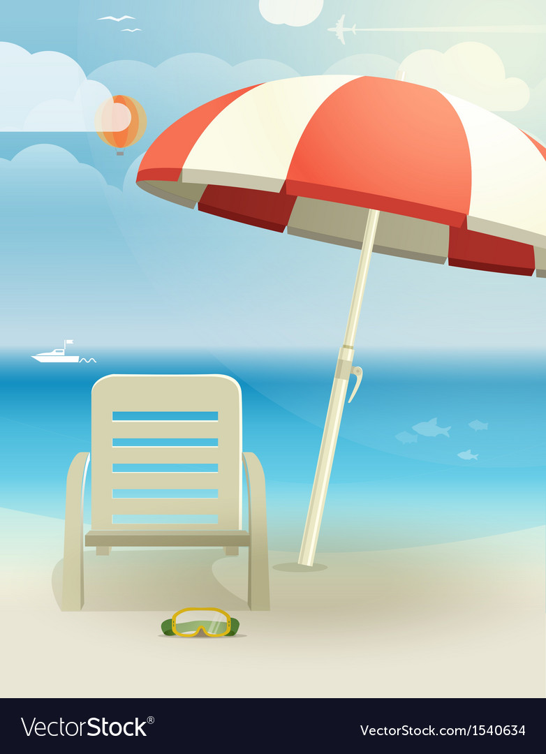 Beach landcape with chair and umbrella vector | Price: 1 Credit (USD $1)