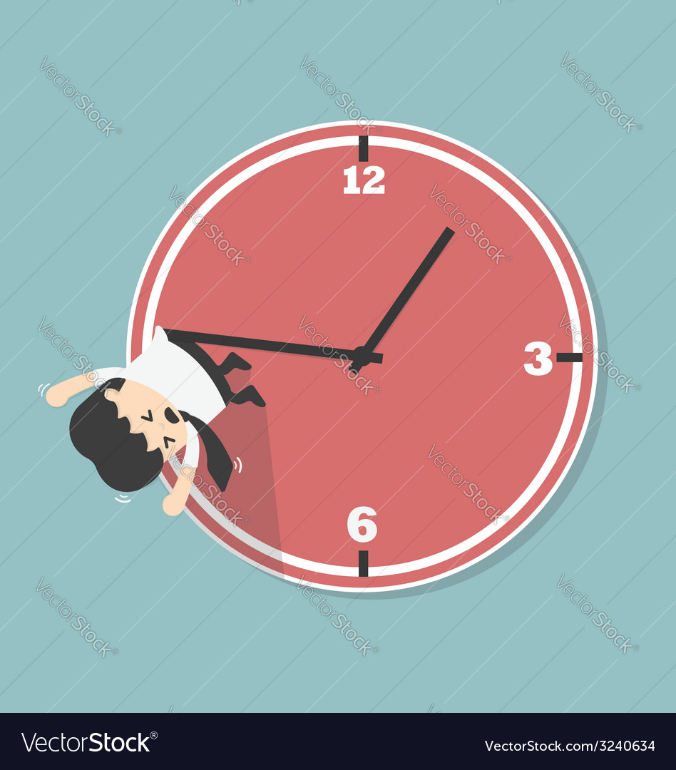 Businessman hangs on an arrow of clock vector | Price: 1 Credit (USD $1)