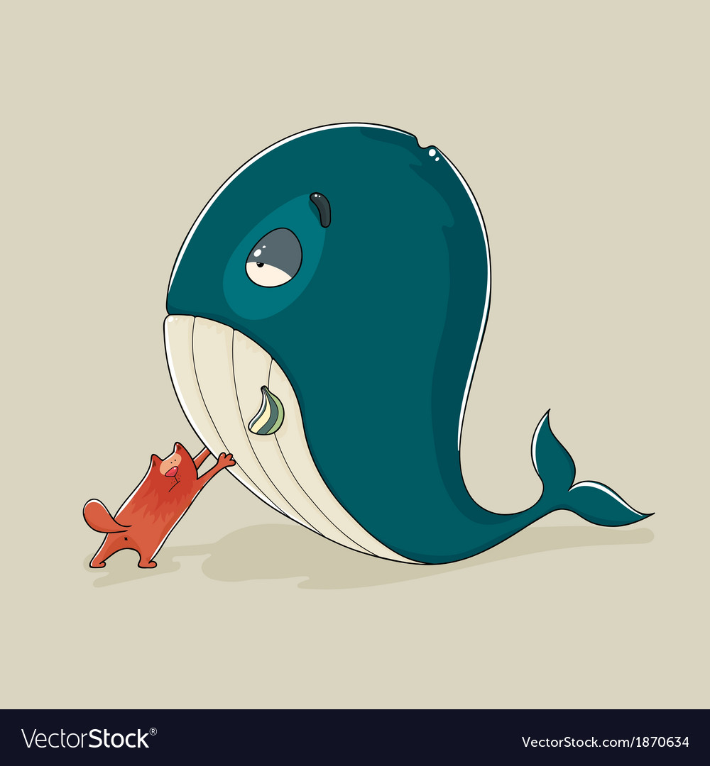 Cute cat with a sickly whale vector | Price: 1 Credit (USD $1)