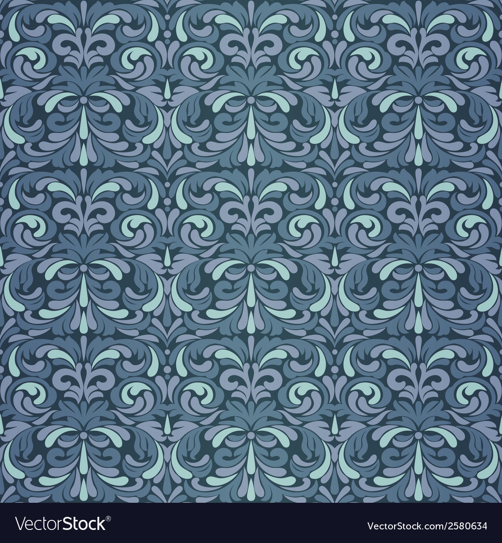 Dark blue baroque pattern vector | Price: 1 Credit (USD $1)