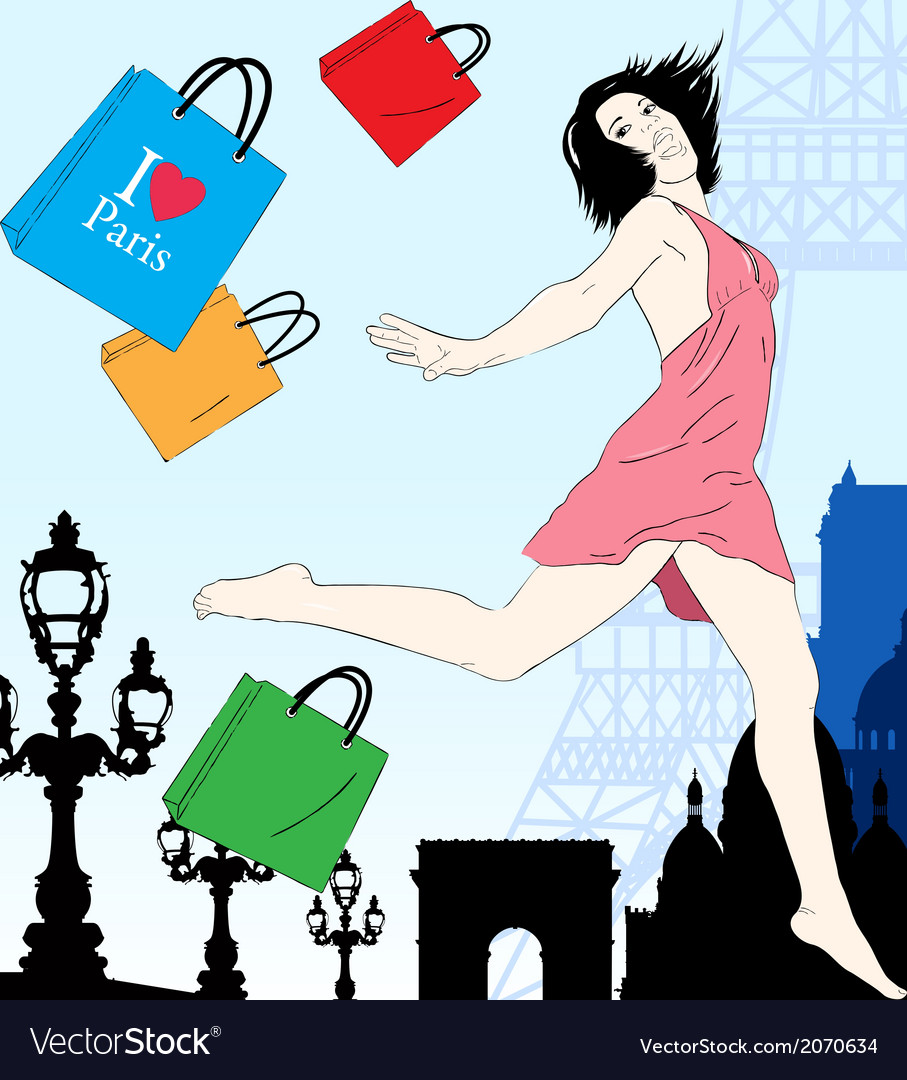 Happy shopping in paris vector | Price: 1 Credit (USD $1)