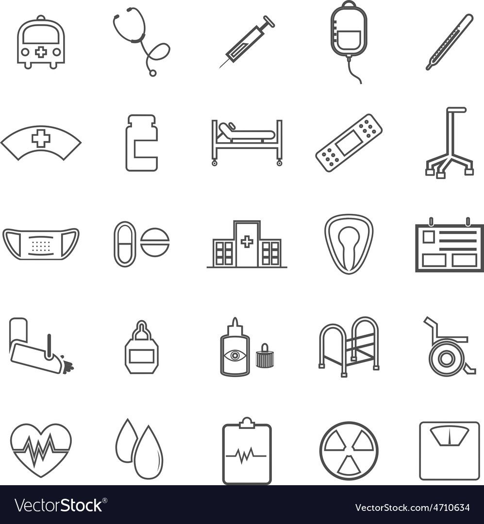 Hospital line icons on white background vector | Price: 1 Credit (USD $1)