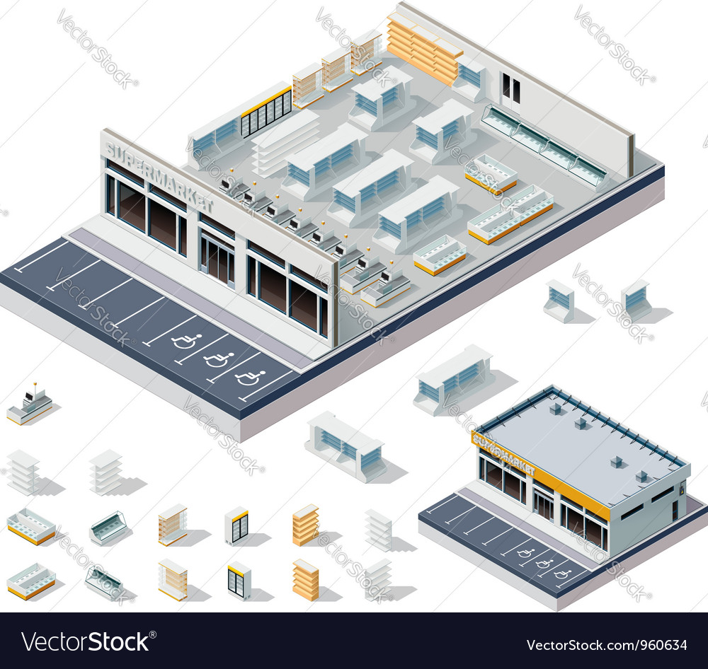 Isometric diy supermarket interior plan vector
