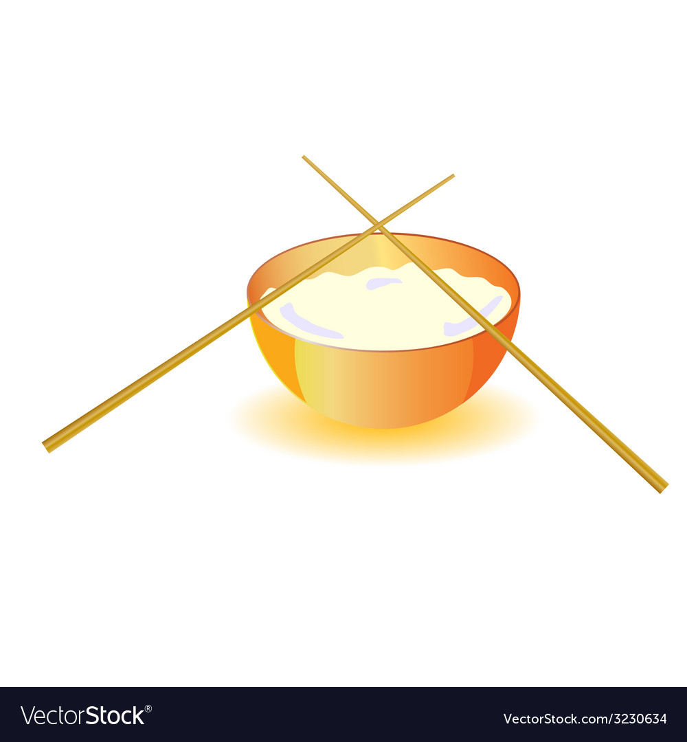 Japanese rice bowl with sticks vector | Price: 1 Credit (USD $1)