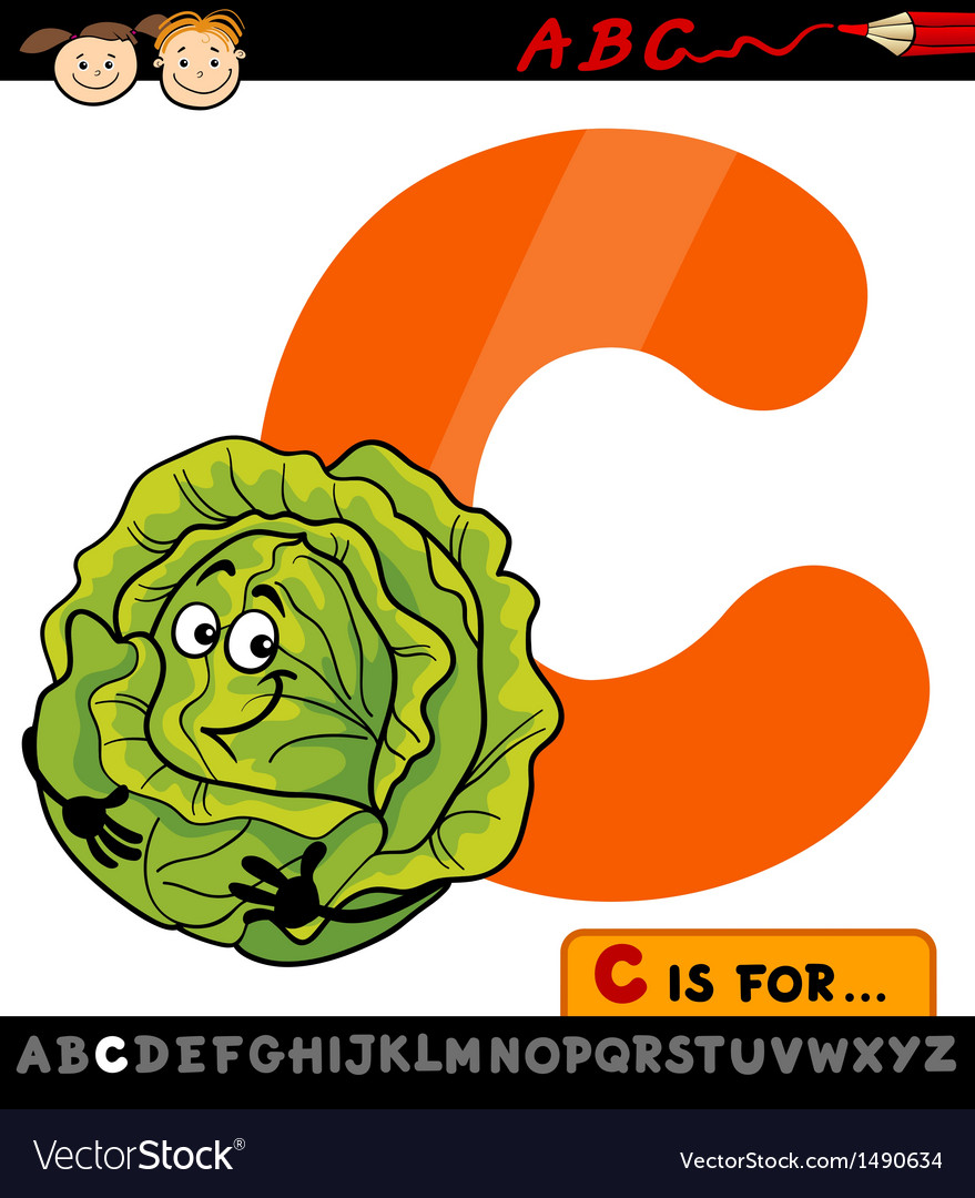 Letter c with cabbage cartoon vector | Price: 1 Credit (USD $1)
