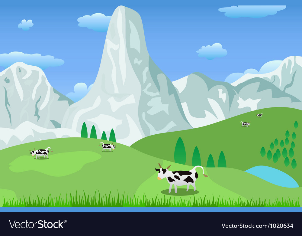 Mountain landscape and pasture vector | Price: 1 Credit (USD $1)