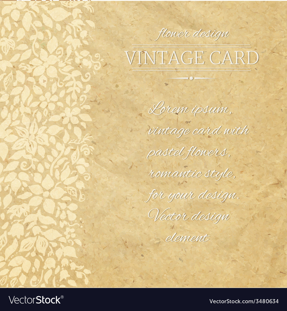 Vintage card with flowers vector | Price: 1 Credit (USD $1)