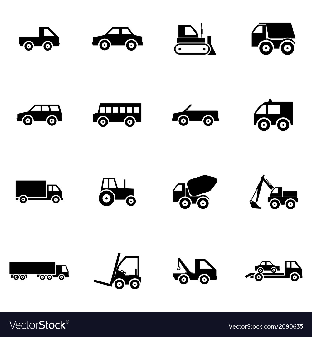 Black vehicle icons set vector | Price: 1 Credit (USD $1)