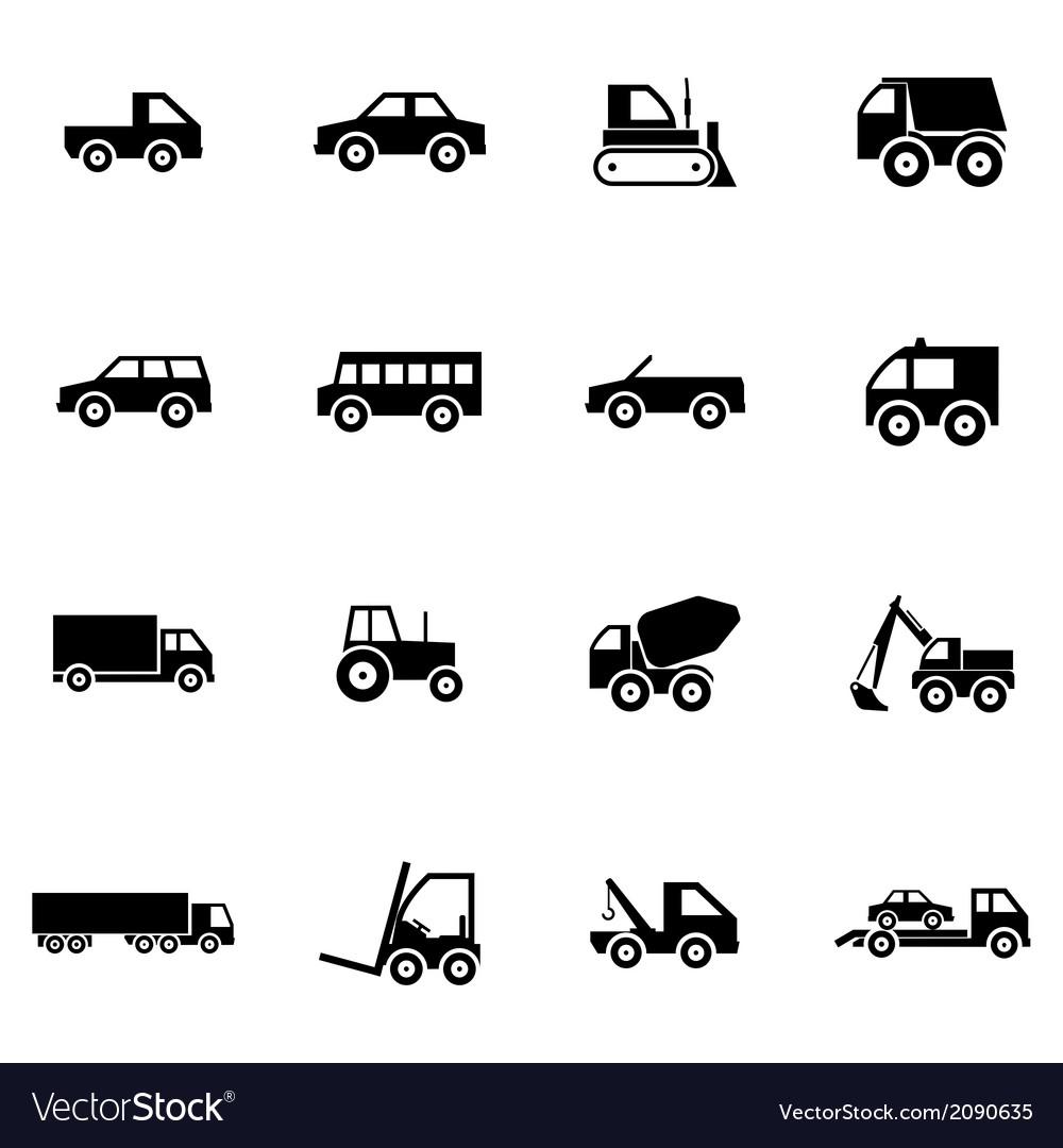 Black vehicle icons set vector | Price: 1 Credit (USD $1)