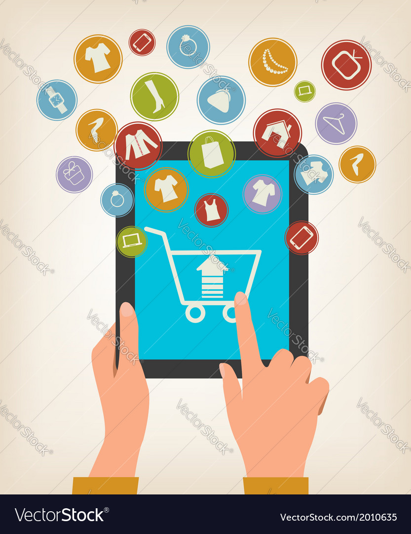 E-shopping concept hands touching a tablet with vector | Price: 1 Credit (USD $1)