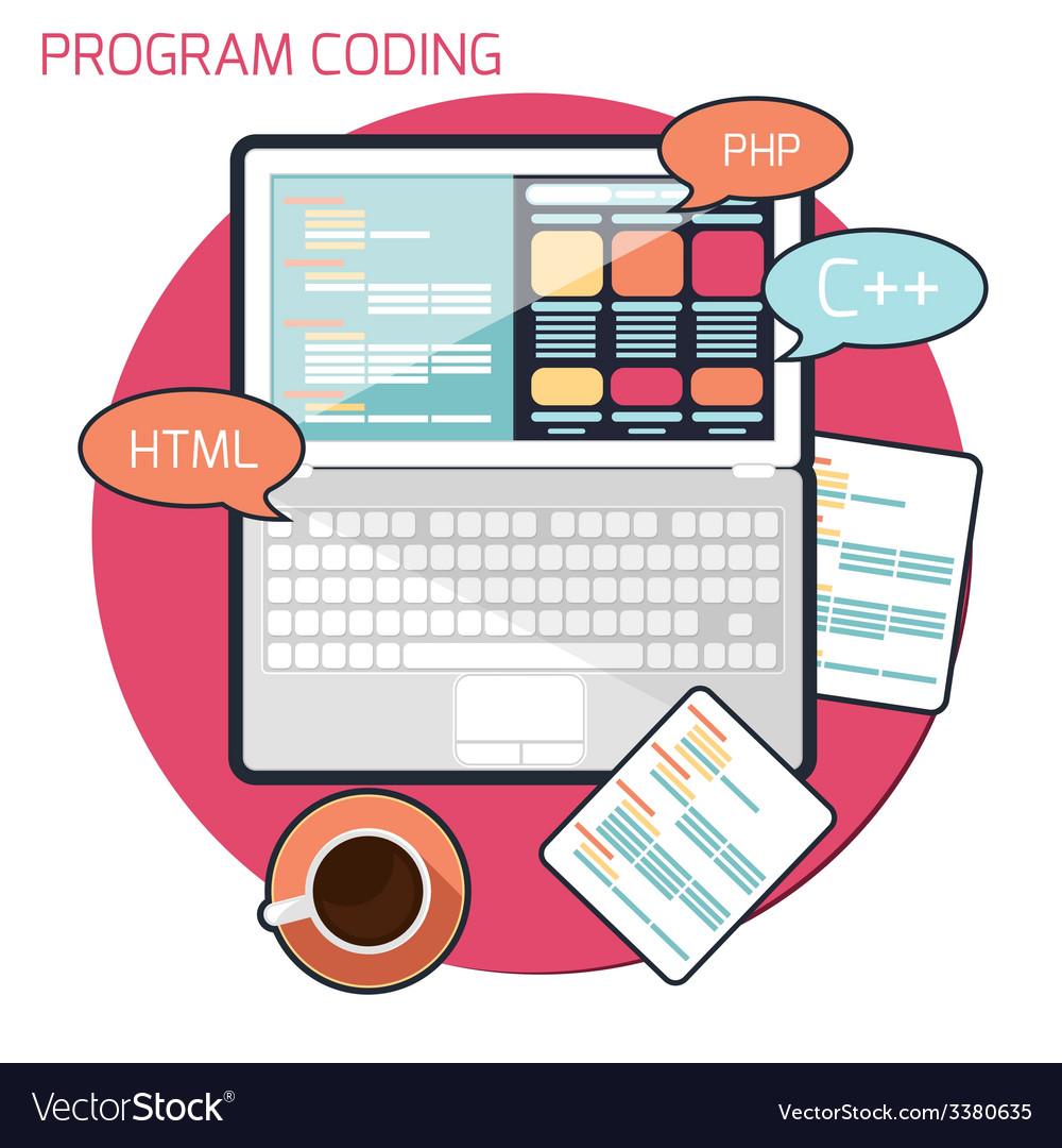 Flat design concept of program coding vector | Price: 1 Credit (USD $1)